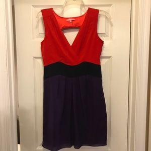ModCloth Red, Navy & Purple Chiffon Dress